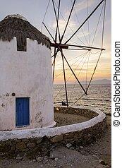 Mykonos, molino de viento, Chora, grecia,