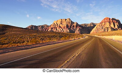 Two Lane Highway Leads to Red Rock Canyon Las Vegas USA -...