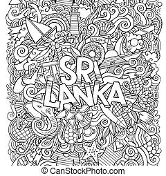 Sri Lanka country hand lettering and doodles elements and...