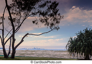 Sunset In Coolangatta - You can see the Gold Coast skyline...