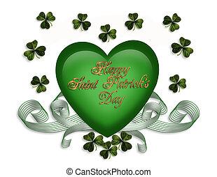 St Patricks card hearts ribbons