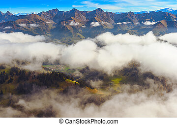 Beautiful alpine landscape, Moleson-sur-Gruyeres, canton of Fribourg, Switzerland