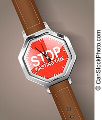 Hand watch - Stop wasting time concept