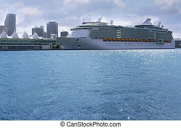 Beautiful cruise vacation boat in Miami Downtown harbor