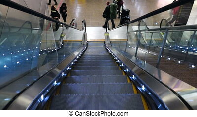 Airport Escalator Pedestrian Transportation Steel Moving...
