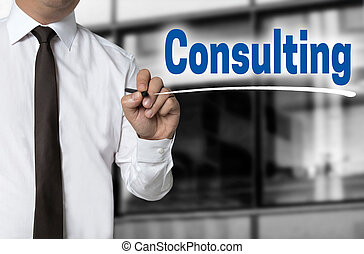 Consulting is written by businessman background concept