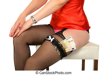 Call girl with money - A call girl with € 150,= euro...
