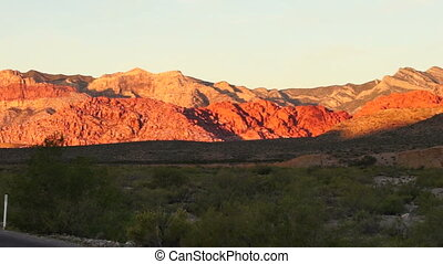 Two Lane Highway Leads to Red Rock Canyon Las Vegas USA