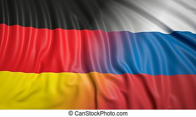 Russian and German flags - Close-up of Russian and German...