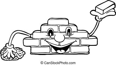 Bricklayer with smile, vector illustration, coloring book