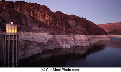 The Snake River Flows Hoover Dam Dusk Sunset Arizona Nevada...
