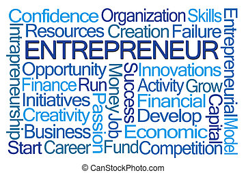 Entrepreneur Word Cloud on White Background