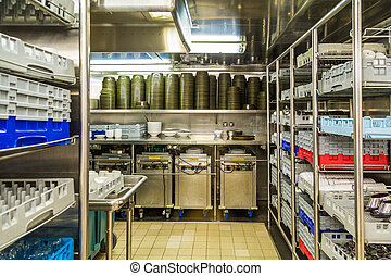 Dishwashing Section of Commercial Kitchen - Commercial...