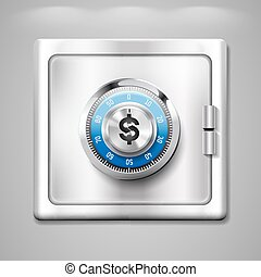 Safe with dollar sign - account savings concept