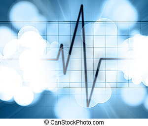 Heart beat on monitor on a blue background