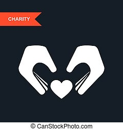 Charity and guardianship concept - hands with heart
