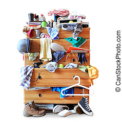 Mess, dresser with scattered clothes, shoes and other things