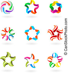 Collection of abstract icons and logos - 3 - Set of abstract...