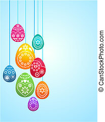 Easter card template - 3 - Easter card template with hanging...