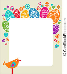 Easter card template with colored eggs