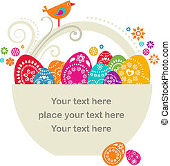 Easter basket - Easter card template - basket with colored...