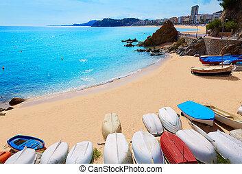 Lloret de Mar Sa Caleta beach in costa Brava of Catalonia...