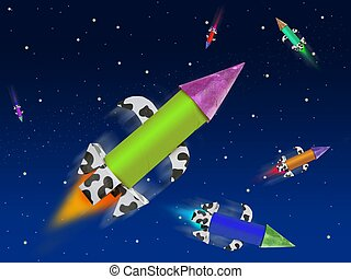 Colorful fantasy rocket flying into blue space planets and...