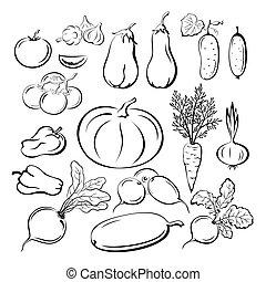 Vegetables Outline Pictograms Set - Set Vegetables, Black...