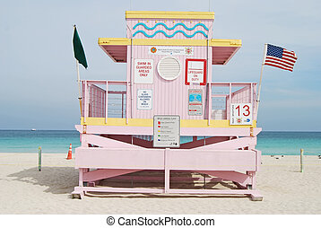 Pink Lifeguard Stamd - Pank lifeguard stand situated on the...
