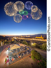 Beautiful fireworks under Arno River and Ponte Vecchio -...
