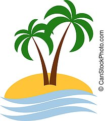 palm logo isolated - Tropical palm icon on island with sea....