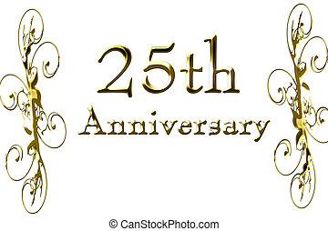 25th anniversary on a solid white background