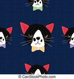 Black Cat with Ribbon on Royal Blue Background