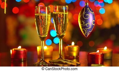 Two Flutes with Sparkling Champagne with New Year decoration...