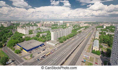 Traffic on the elevated road timelapse overpass on Yaroslavl highway in Moscow