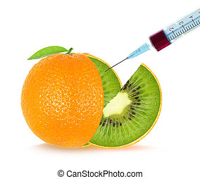 fruit, genetic engineering - kiwi orange. Genetic...