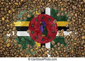 Dominican Republic flag coffee bean - National country flag...