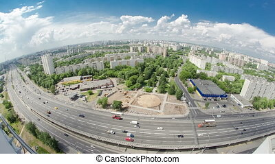 Traffic on the elevated road timelapse overpass on Yaroslavl...