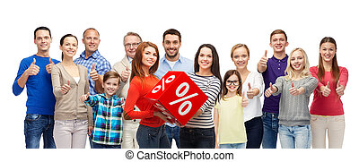 happy people red percentage sign showing thumbs up -...
