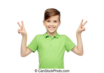 happy boy showing peace or victory hand sign - gesture,...