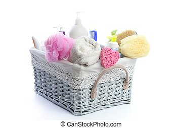 Bath toiletries basket with shower gel shampoo sponge and...