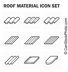 Roof tile - Roof material icon set.