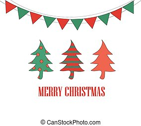 Merry Christmas card design, Christmas tree, Christmas,...