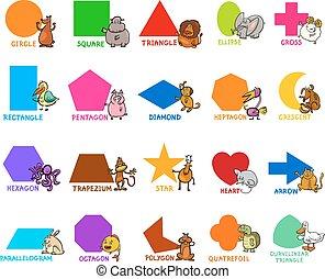 formas, geométrico, animales, básico