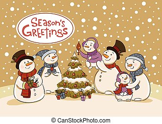 Snowman holiday party - The family of snowmen dresses up a...