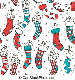 Christmas socks - Seamless pattern with various hand drawn...