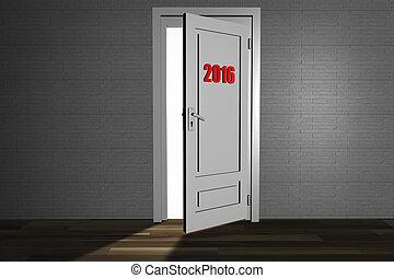 2016 - a 3d rendering of an open door to the next 2016