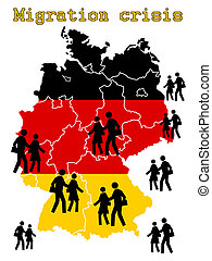 Migration crisis in Germany - concept
