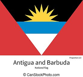 National flag of Antigua and Barbuda with correct...