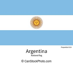 National flag of Argentina with correct proportions,...